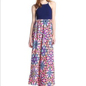 Bettina Silk Combo Kaleidoscope Maxi Dress